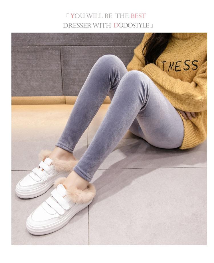 New Velour Thin Women's Leggings, Solid Color, High Waist Fashion Leggings 20