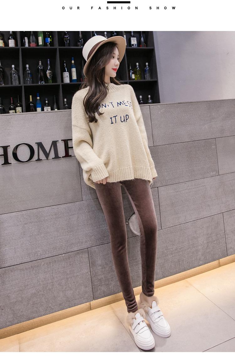 New Velour Thin Women's Leggings, Solid Color, High Waist Fashion Leggings 27
