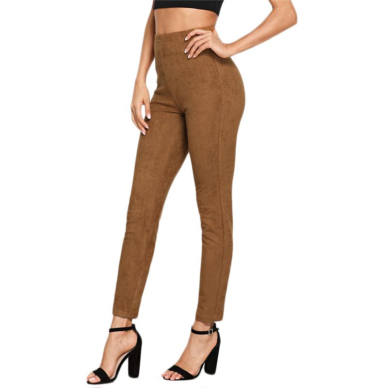 Brown Elegant Office Lady Solid Suede Leggings, 2018 High Street, Women, Pants 19
