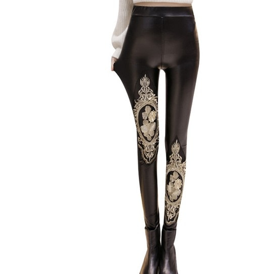 PU Leather Leggings, Women's Sequins Tide Punk Leggings, Rivets, Punk Leggings 28