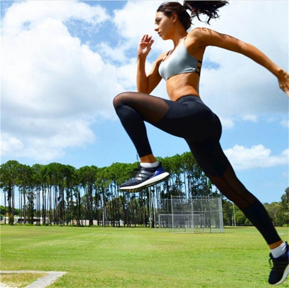 Casual Leggings Women Fitness Leggings Color Block Workout Pants New Arrival Mesh Insert Leggings 16