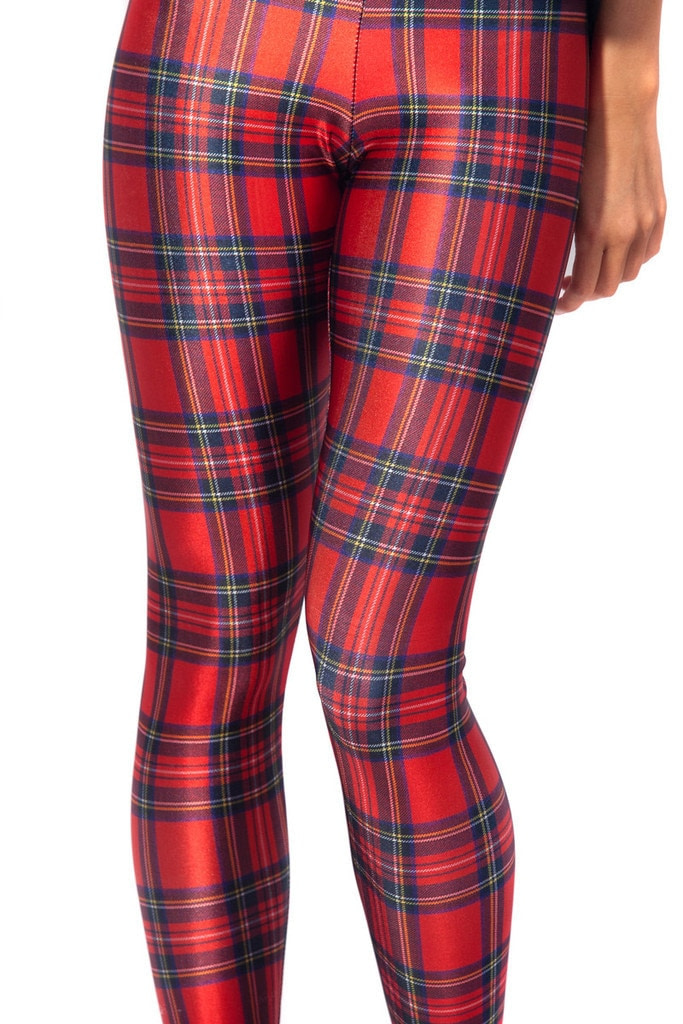 Plaid Women's Sexy Slim Leggings,Large Sizes, Plaid Full Length Pants 28