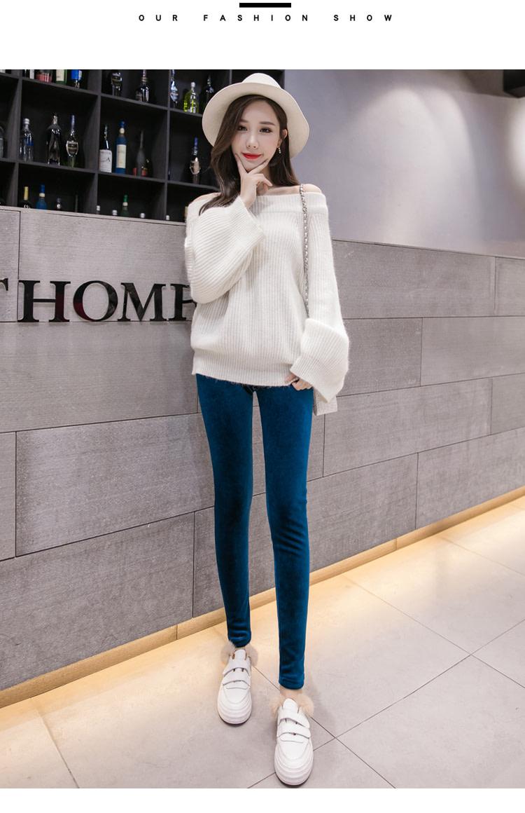 New Velour Thin Women's Leggings, Solid Color, High Waist Fashion Leggings 23
