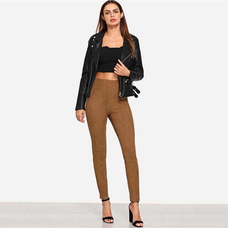 Brown Elegant Office Lady Solid Suede Leggings, 2018 High Street, Women, Pants 18