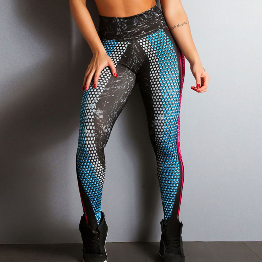 New Honeycomb Letter Printed Women's Fitness Leggings, High Waist, Elastic Push Up Legging Workout Leggings 13