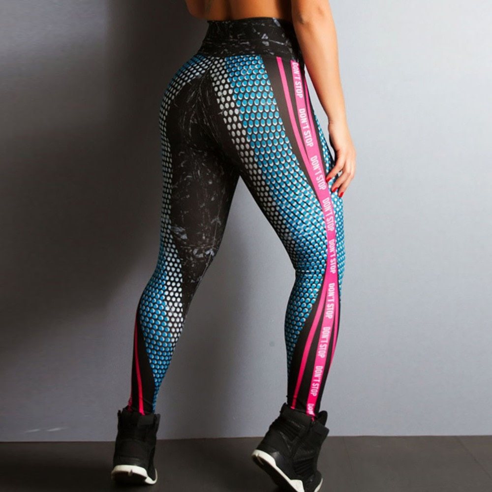New Honeycomb Letter Printed Women's Fitness Leggings, High Waist, Elastic Push Up Legging Workout Leggings 14