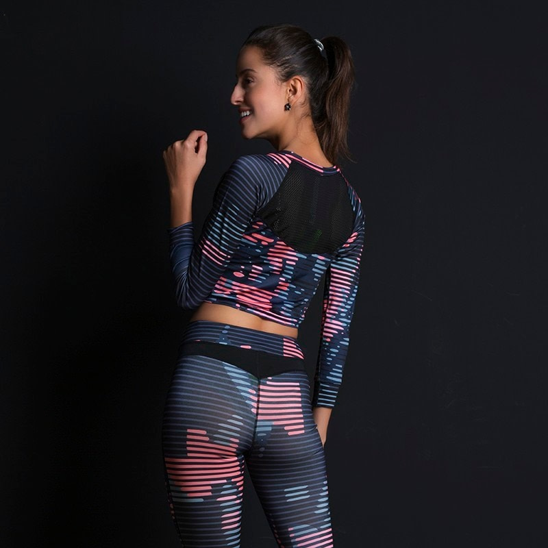 New Sport Suit Print Fitness Suit Leggings Breathable Yoga Set 2 Piece Zipper Sportswear T-shirt Sport Pants Tracksuit For Women 11