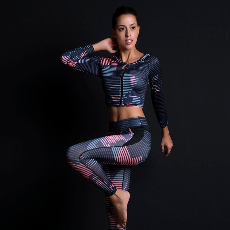 New Sport Suit Print Fitness Suit Leggings Breathable Yoga Set 2 Piece Zipper Sportswear T-shirt Sport Pants Tracksuit For Women 6