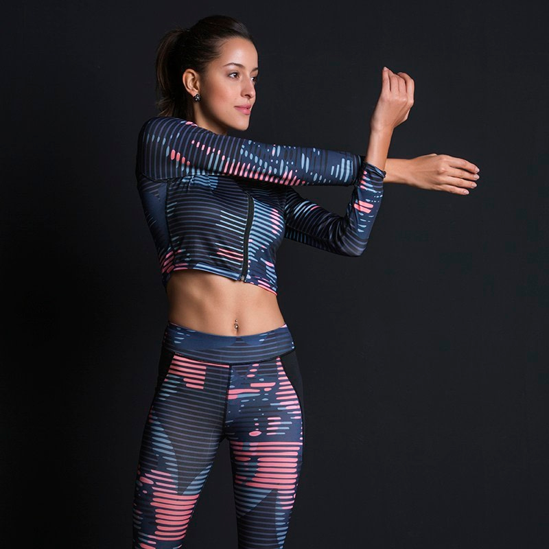 New Sport Suit Print Fitness Suit Leggings Breathable Yoga Set 2 Piece Zipper Sportswear T-shirt Sport Pants Tracksuit For Women 7