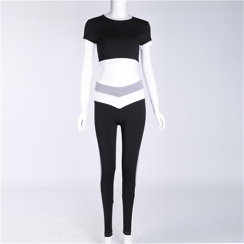 2Pcs Womens Compression Fitness Leggings Running Sport Short Sleeve Yoga Set Gym Workout Wear Top Pants Yoga Suit 8