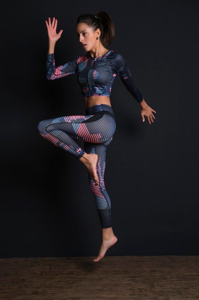 New Sport Suit Print Fitness Suit Leggings Breathable Yoga Set 2 Piece Zipper Sportswear T-shirt Sport Pants Tracksuit For Women 13